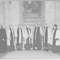 National Cathedral interiors. Group of bishops and clergy in National Cathedral I
