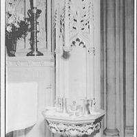 National Cathedral interiors. Religious serving silver, next to altar in National Cathedral