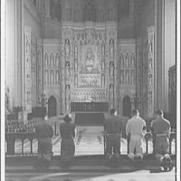 National Cathedral interiors. Service members at communion in National Cathedral