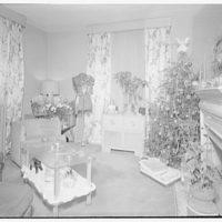 Ned Morris residence. Corner of room in Ned Morris house with Christmas tree