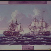Paintings. U.S. Navy ship Constitution (Old Ironside) during battle with H.M.S. Guerriere I