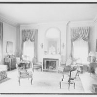Paterson country house, Point Farm, by Schuyler & Lounsbery. Living room in Paterson country house, to fireplace