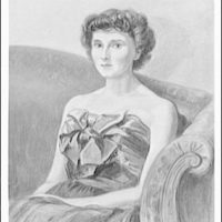 Portrait paintings. Woman in party dress seated on couch I