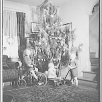 Portrait photographs. Children with tricycle and wagon next to Christmas tree IV