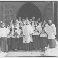 Portrait photographs. Episcopal minister, altar boy and choir standing at entrance to church