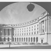 Post Office Department Building. Circular pediment through arch of old Post Office Department II