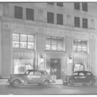 Potomac Electric Power Co. Building. Front entrance of Potomac Electric Power Co. at night I