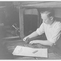 Printing shops in Washington for Stanford Paper Co. Man working at printing press X
