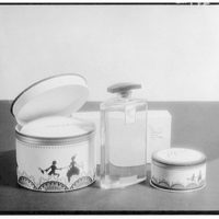 Product photographs. Perfume bottle and powder puff canister I