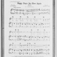 """Song portion of """"Happy Days are Here Again"""". First page of sheet music"""