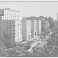Statler Hotel. Elevated view of Statler Hotel with Washington Monument in background