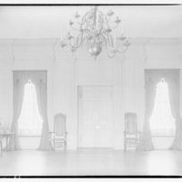 Stratford, Lee family estate. View across large room to curtained windows at Stratford