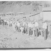Striking miners drawing rations, West Virginia. Miners ration line I