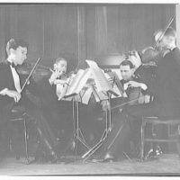 String quartet. Quartet seated playing instruments