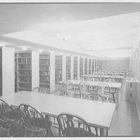Trinity College. Interior on Trinity College campus with book stacks and tables with chairs