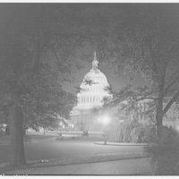 U.S. Capitol exteriors. East front of U.S. Capitol at night I