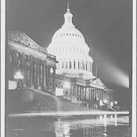 U.S. Capitol exteriors. East front of U.S. Capitol at night V