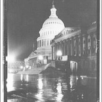 U.S. Capitol exteriors. East front of U.S. Capitol on rainy night I