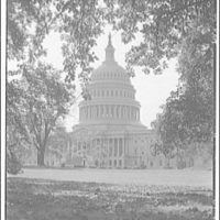 U.S. Capitol exteriors. East front of U.S. Capitol through trees I