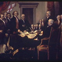 U.S. Capitol paintings. Declaration of Independence, painting by John Trumbull in U.S. Capitol IV