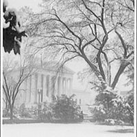 U.S. Supreme Court exteriors. Front portico of U.S. Supreme Court from left in winter