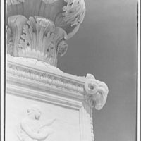 U.S. Supreme Court exteriors. Rams head on base of candelabra