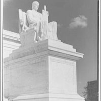 U.S. Supreme Court exteriors. Statue of Execution of Law at U.S. Supreme Court, three-quarter view III