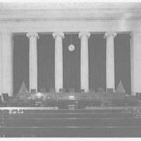 U.S. Supreme Court interiors. Courtroom in U.S. Supreme Court from rear