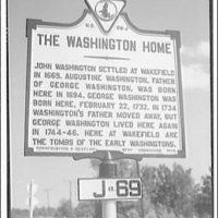 Wakefield, Washington's birthplace. Land marker for Wakefield