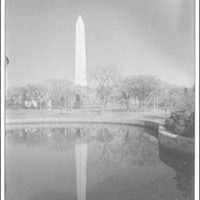Washington Monument. View of Washington Monument across Tidal Basin, with reflection