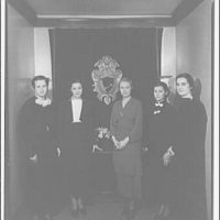 Washington School for Secretaries. Group of women in front of seal textile at Washington School for Secretaries I