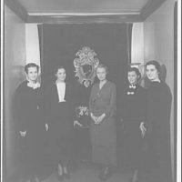 Washington School for Secretaries. Group of women in front of seal textile at Washington School for Secretaries II