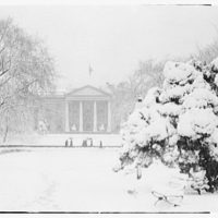 White House exteriors. Front of White House from Lafayette Park in winter II
