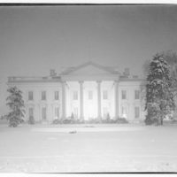 White House exteriors. Front view of White House at night in winter II
