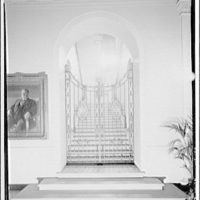 White House interiors. Grand stairway of White House from center