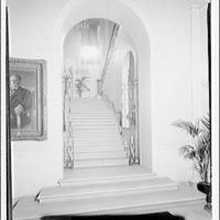 White House interiors. Grand stairway of White House from side