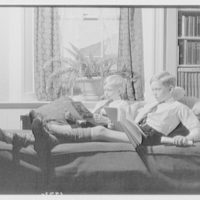 Wyckoff children. Two boys reading on couch II