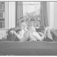 Wyckoff children. Two boys reading on couch V