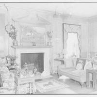 Geraldyn L. Redmond, residence in Brookville, Long Island, New York. Detail of living room fireplace