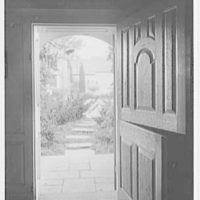 Geraldyn L. Redmond, residence in Brookville, Long Island, New York. View out of dutch door