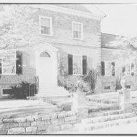Mott B. Schmidt, residence in Bedford, New York. Side view of entrance, morning