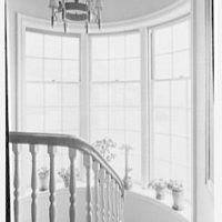Mrs. Frederick Havemeyer, residence at 16 Sutton Square, New York, New York. Queensboro bridge through stair window