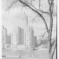 River House, 52nd St. and East River, New York City. Framed by tree, on Welfare Island, sunlighted