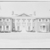 Roy D. Chapin, residence at 447 Lake Shore, Grosse Pointe Farms, Michigan. Entrance facade, axis view, center section, noon