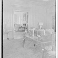 Roy D. Chapin, residence at 447 Lake Shore, Grosse Pointe Farms, Michigan. Library desk and vista to living room