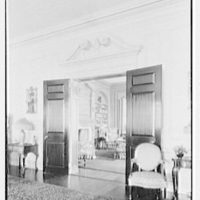 Roy D. Chapin, residence at 447 Lake Shore, Grosse Pointe Farms, Michigan. Living room vista to library
