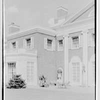 Roy D. Chapin, residence at 447 Lake Shore, Grosse Pointe Farms, Michigan. West facade, terrace and chimney