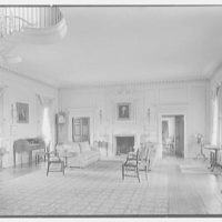 Gerald B. Lambert, Carter Hall, residence in Millwood, Virginia. Living room, to fireplace