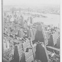 New York city views, from Chrysler Building. Looking east