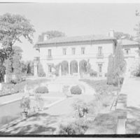 Anthony Campagna, residence in Riverdale-on-Hudson, New York City. General view from orangerie terrace